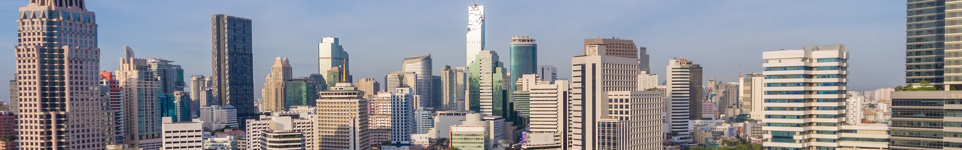 Bangkok Thailand city skyline at central business district of Sathorn
